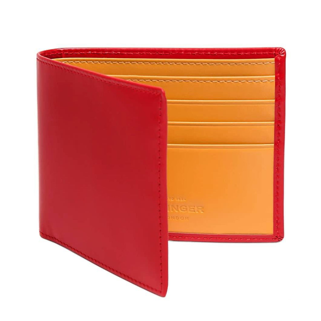 Ettinger Bridle Hide Billfold Leather Wallet with 6 CC Slots Leather Wallet Ettinger Red