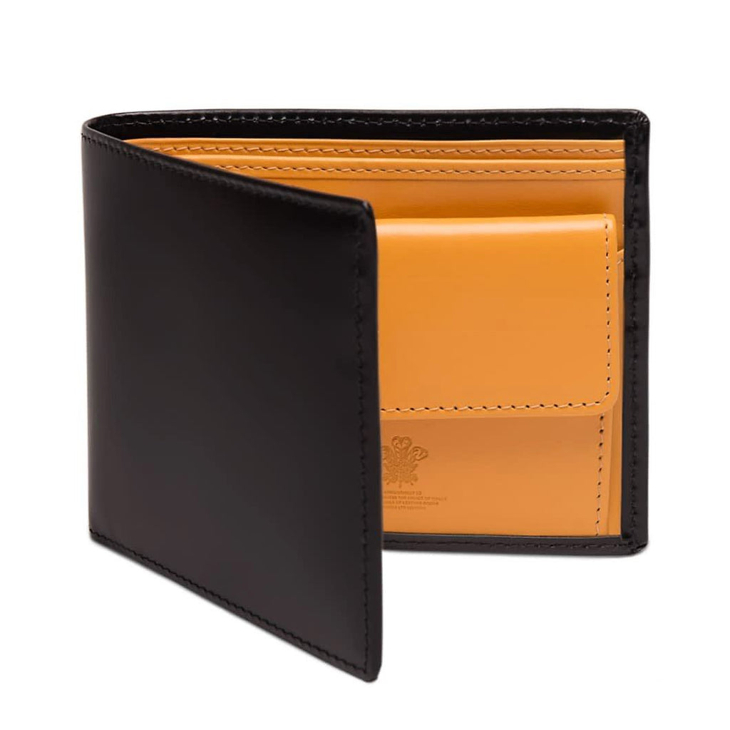 Ettinger Bridle Hide Billfold with 3 Credit Card Slots and Coin Purse Leather Wallet Ettinger Black