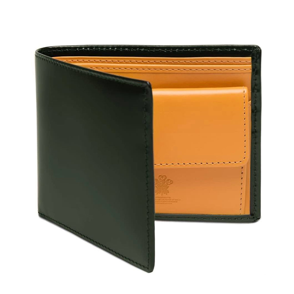 Ettinger Bridle Hide Billfold with 3 Credit Card Slots and Coin Purse Leather Wallet Ettinger Green