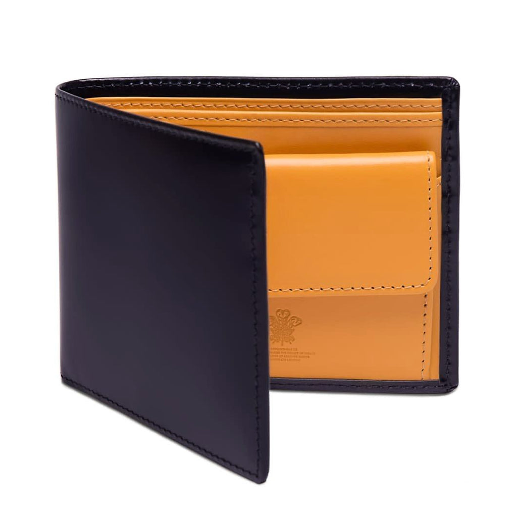 Ettinger Bridle Hide Billfold with 3 Credit Card Slots and Coin Purse Leather Wallet Ettinger Navy