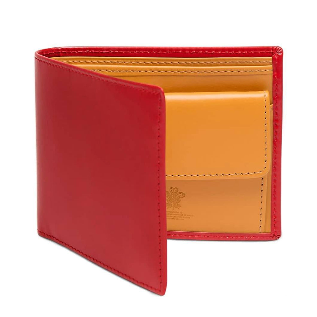 Ettinger Bridle Hide Billfold with 3 Credit Card Slots and Coin Purse Leather Wallet Ettinger Red
