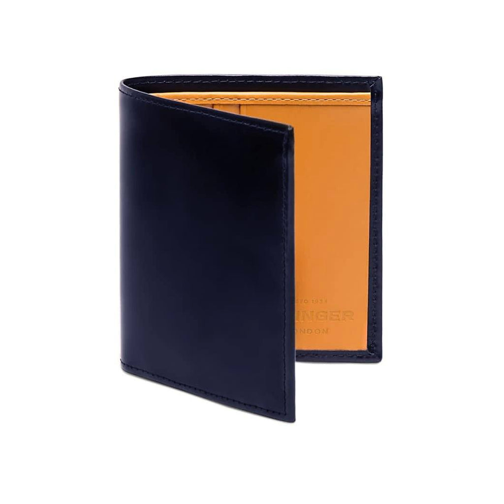Ettinger Bridle Hide Mini Wallet with 6 Credit Card Slots Leather Wallet Ettinger Navy