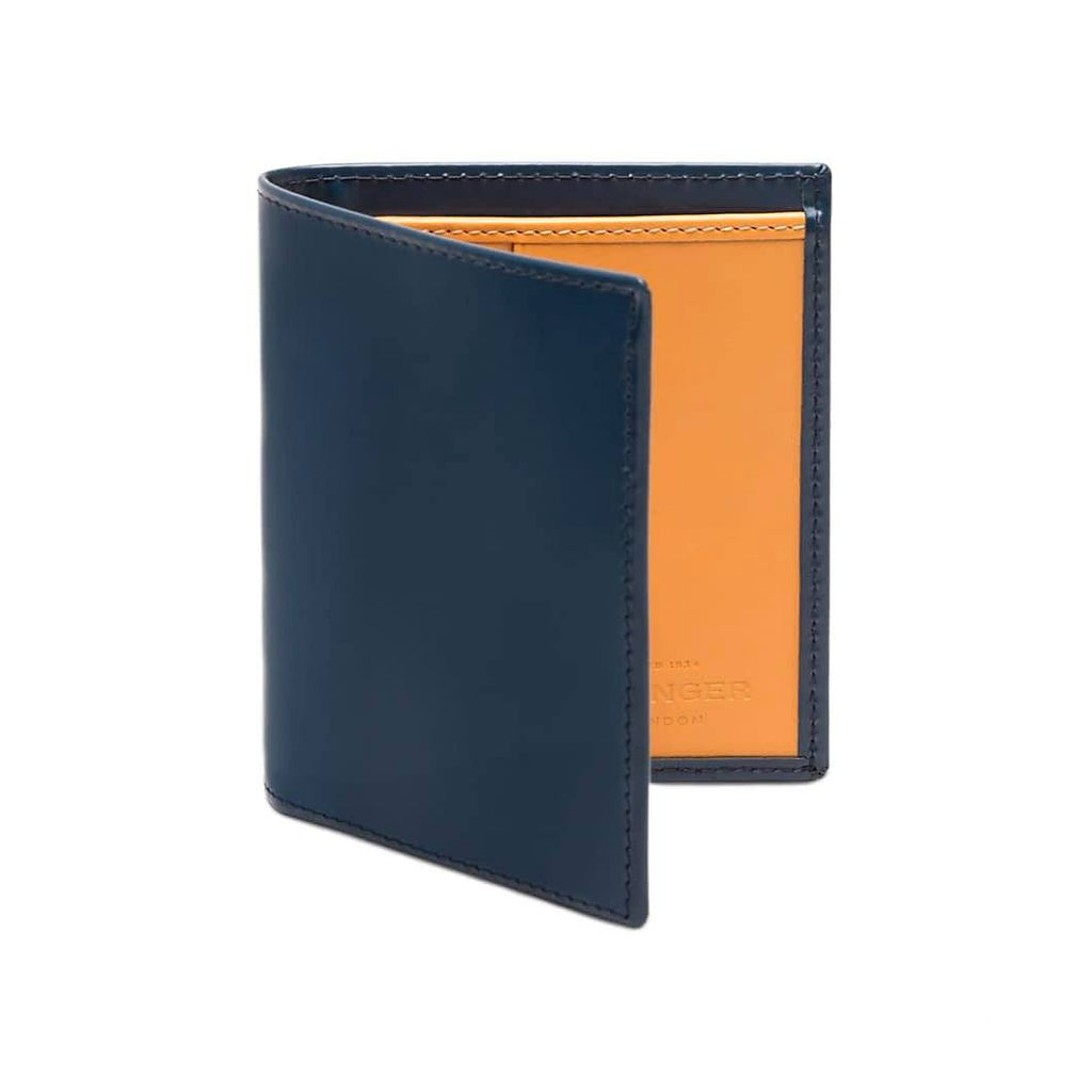 Ettinger Bridle Hide Mini Wallet with 6 Credit Card Slots Leather Wallet Ettinger Petrol Blue