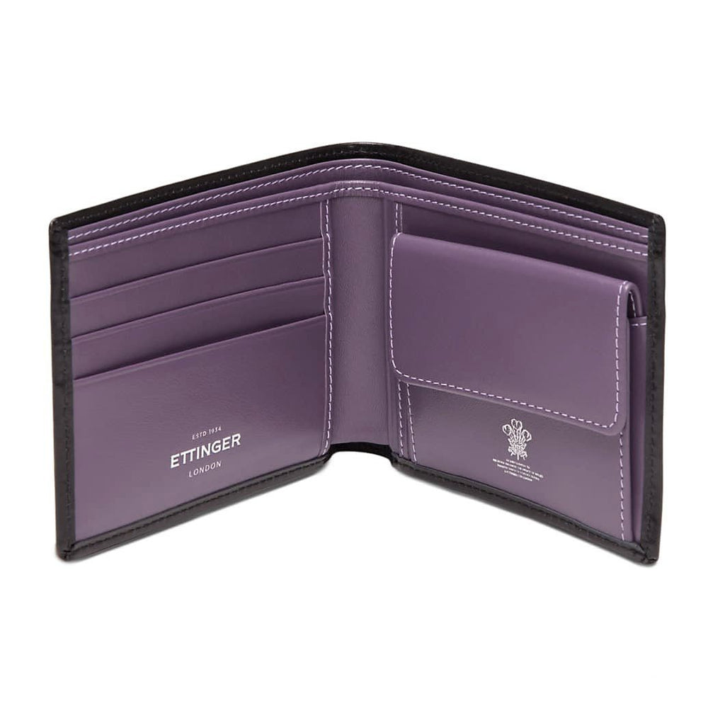 Ettinger Sterling Billfold with 3 Credit Card Slots and Coin Purse, Purple Leather Wallet Ettinger
