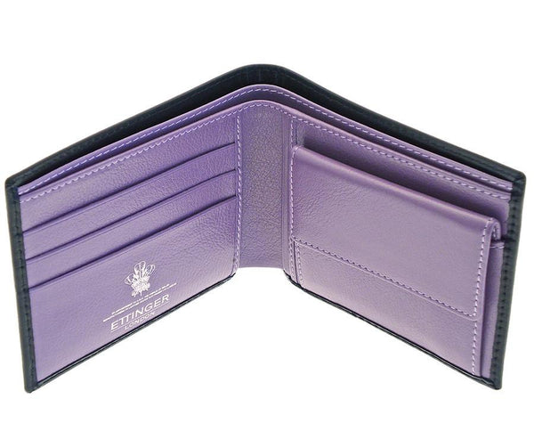 Ettinger Sterling Billfold with 3 Credit Card Slots and Coin Purse, Purple - Fendrihan Canada - 1