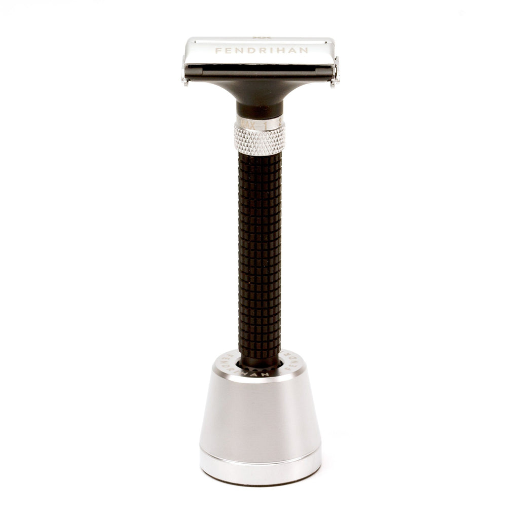 Fendrihan Adjustable Butterfly Matte Safety Razor with Base Double Edge Safety Razor Fendrihan Chrome