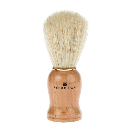 Fendrihan Pure Boar Bristle Shaving Brush, Wood Handle with Gold Rim