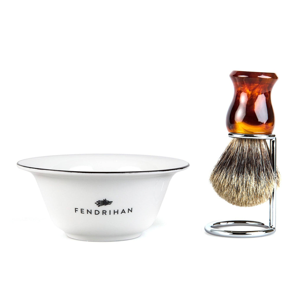 Fendrihan Porcelain Shaving Bowl and Classic Pure Grey Badger Shaving Brush with Metal Stand Set, Save $10 Shaving Set Fendrihan Black Faux Amber