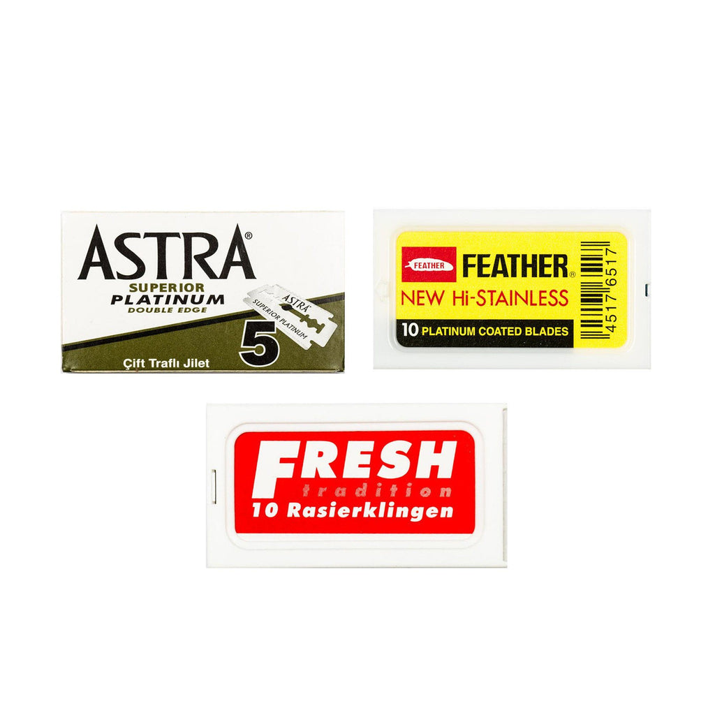 30pc Razor Blade Sampler: Fresh, Feather and Astra Platinum
