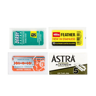 40pc Double Edge Razor Blade Sampler Pack: Feather, Astra, Merkur and Derby Razor Blades Fendrihan