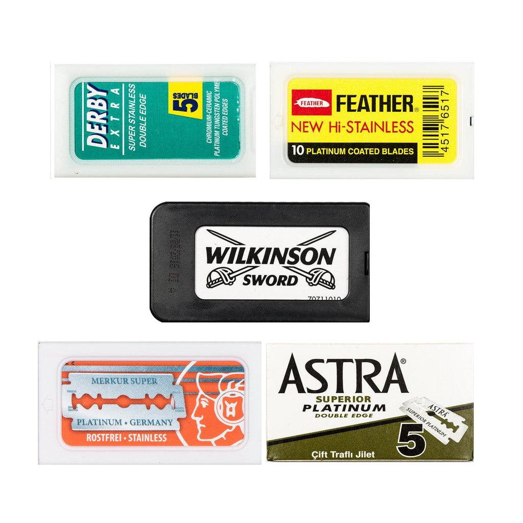 50pc Razor Blade Sampler: Merkur, Astra, Wilkinson, Feather and Derby Razor Blades Fendrihan