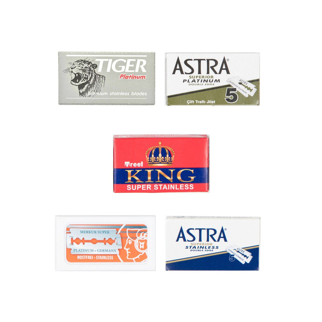 50pc Razor Blade Sampler: Tiger Platinum, Astra, Treet King, and Merkur Razor Blades Fendrihan
