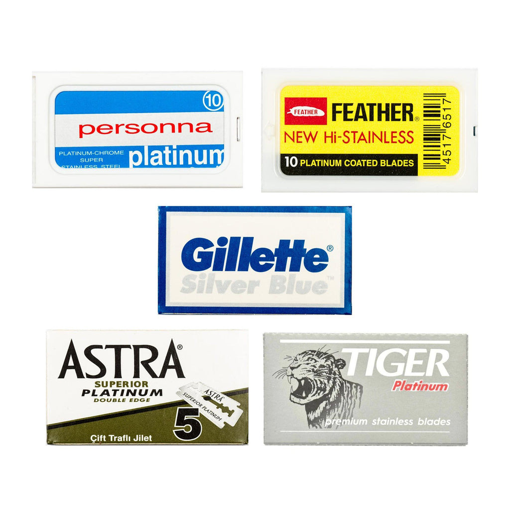 50pc Razor Blade Sampler: Personna, Feather, Gillette, Astra and Tiger Platinum Razor Blades Fendrihan