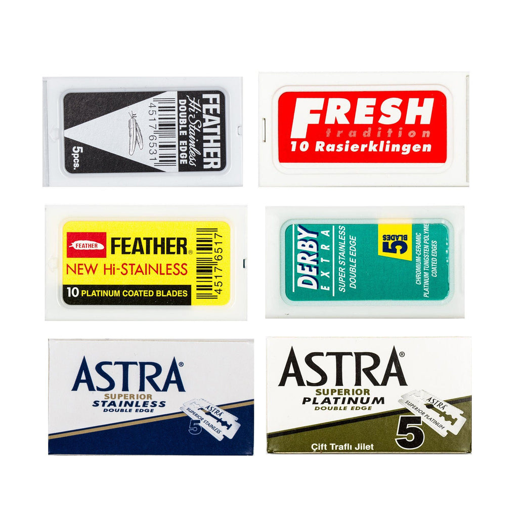 60pc Safety Razor Blade Sampler: Derby, Fresh, Astra, Feather Razor Blades Fendrihan