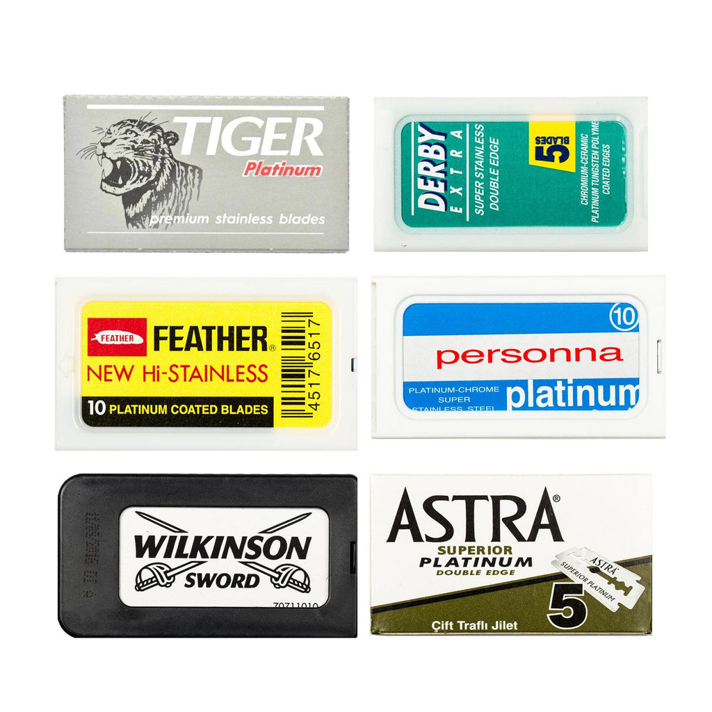60pc Razor Blade Sampler: Astra, Derby, Feather, Personna, Wilkinson and Tiger Platinum Razor Blades Fendrihan