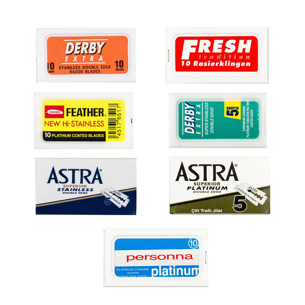70pc Razor Blade Sampler: Derby, Astra, Feather, Fresh, Personna Razor Blades Fendrihan