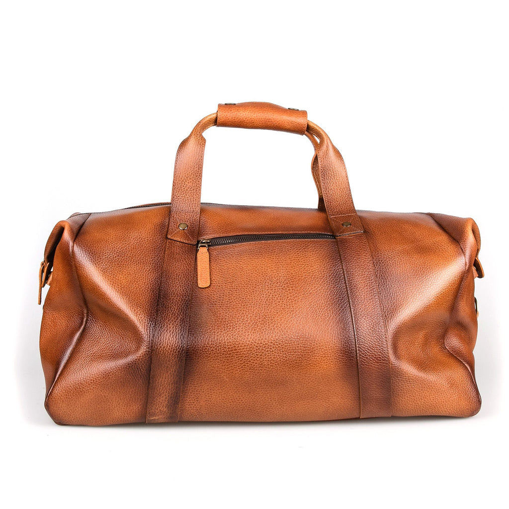 Fendrihan Pebbled Leather Travel Bag, Cognac