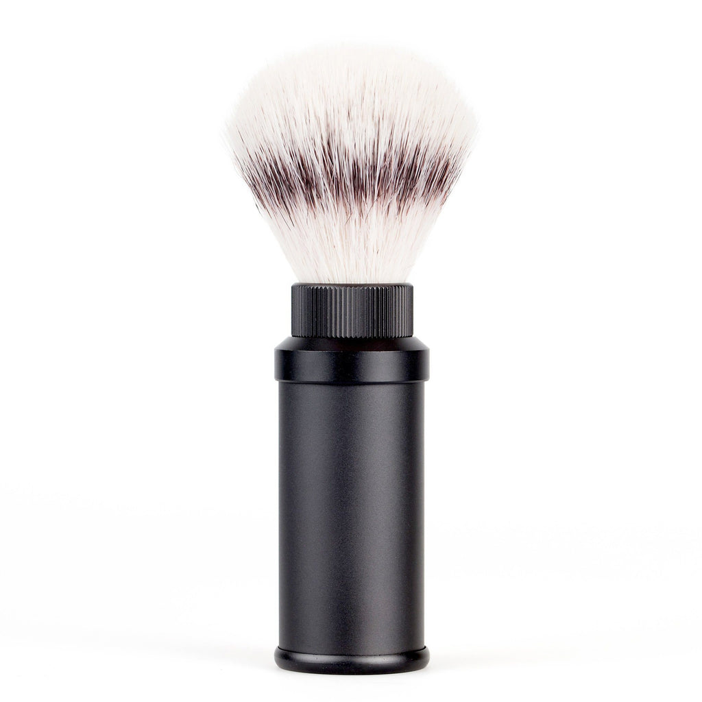Fendrihan Black Anodized Aluminum Travel Shaving Brush, Silvertip Fibre Synthetic Bristles Shaving Brush Fendrihan