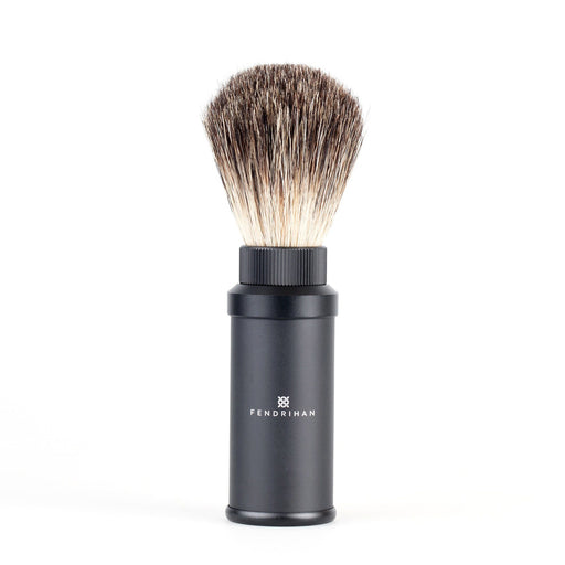 Fendrihan Black Anodized Aluminum Travel Shaving Brush, Pure Badger