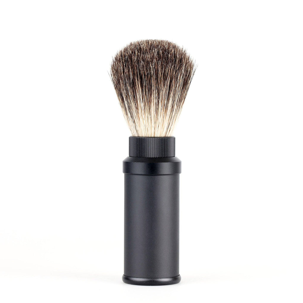 Fendrihan Black Anodized Aluminum Travel Shaving Brush, Pure Badger Badger Bristles Shaving Brush Fendrihan