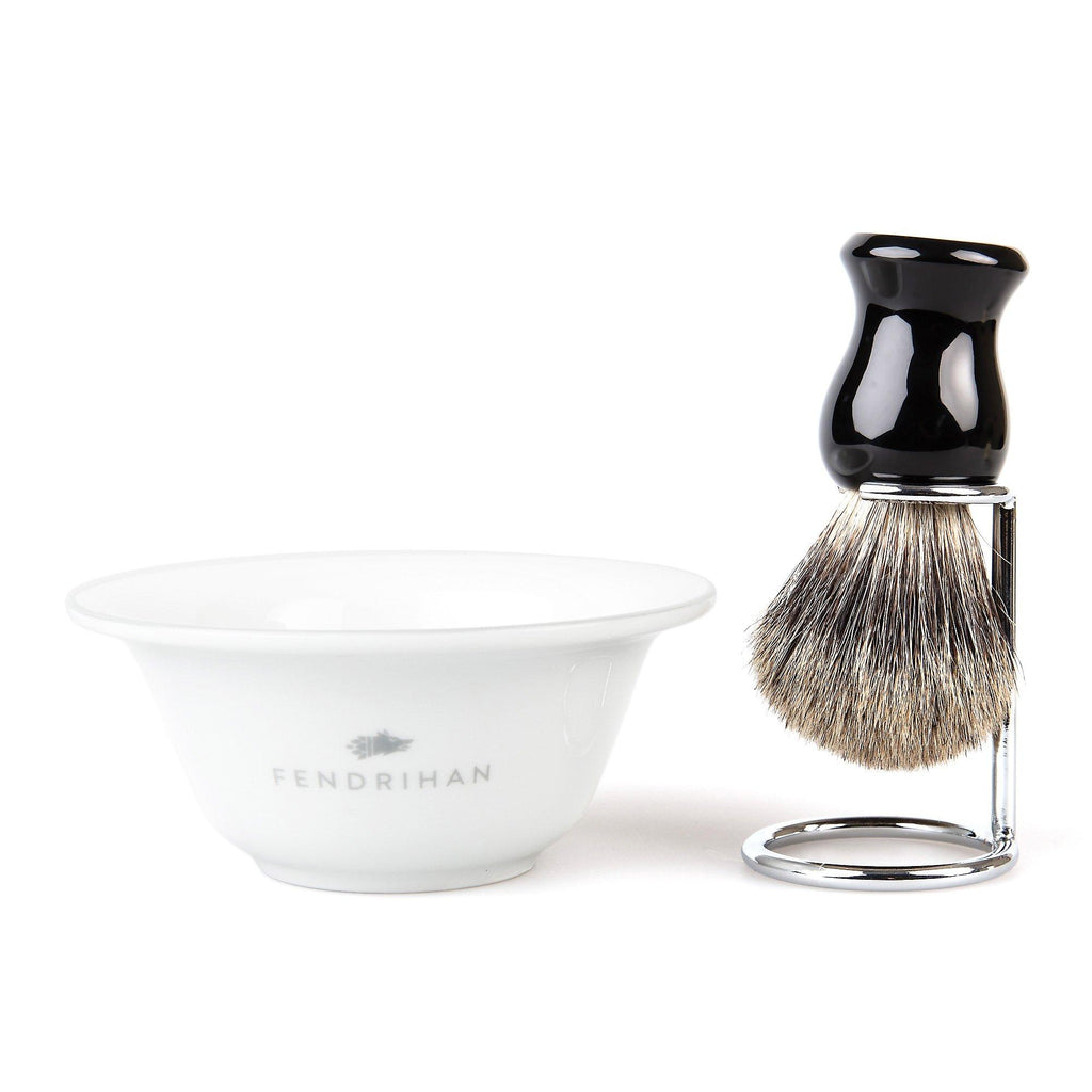 Fendrihan Porcelain Shaving Bowl and Classic Pure Grey Badger Shaving Brush with Metal Stand Set, Save $10 Shaving Set Fendrihan Grey Black