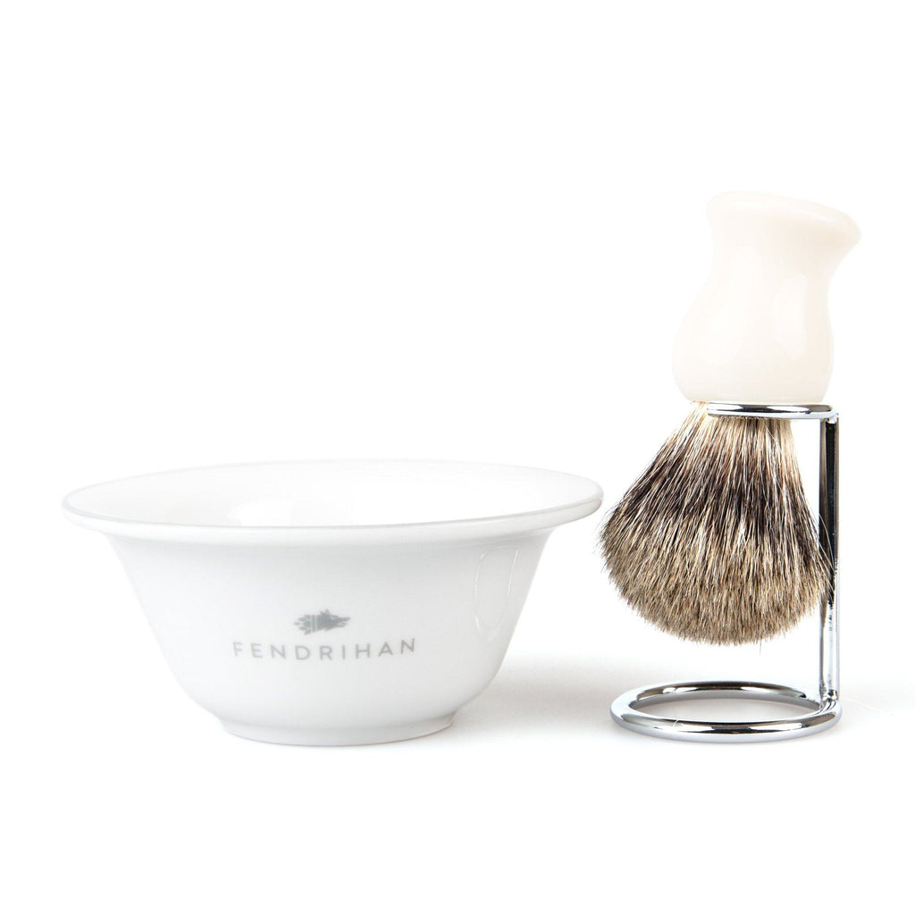 Fendrihan Porcelain Shaving Bowl and Classic Pure Grey Badger Shaving Brush with Metal Stand Set, Save $10 Shaving Set Fendrihan Grey White