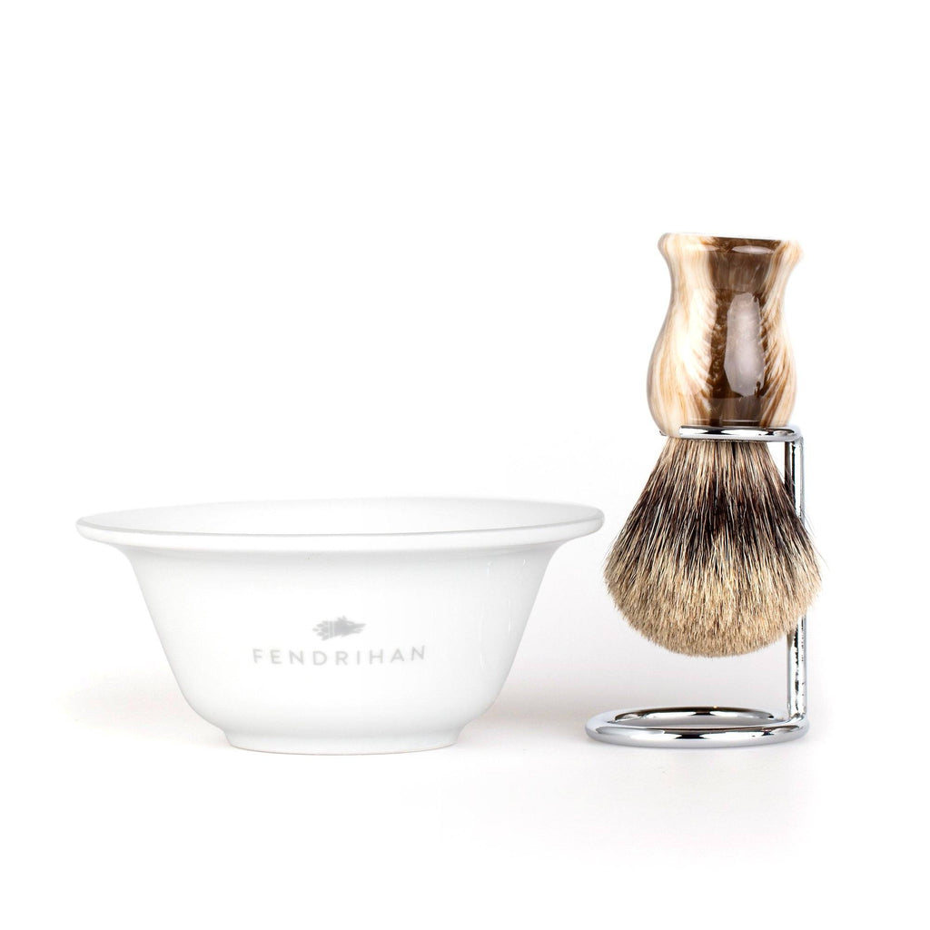 Fendrihan Porcelain Shaving Bowl and Classic Pure Grey Badger Shaving Brush with Metal Stand Set, Save $10 Shaving Set Fendrihan Grey Faux Horn