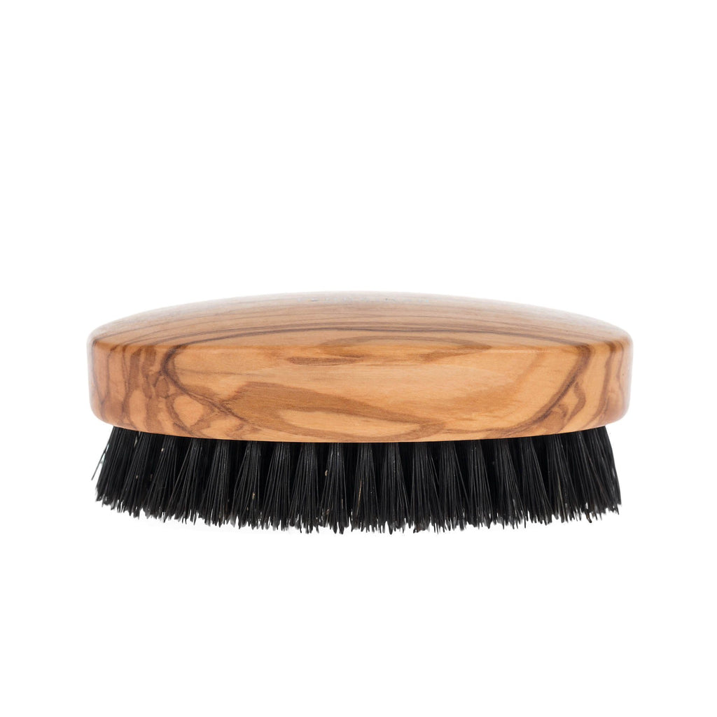 Men's Olivewood Military Hairbrush with Wild Boar Bristles - Made in Germany
