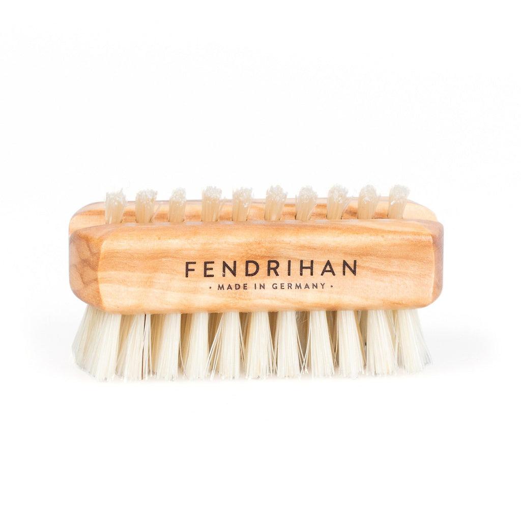 Fendrihan Dual-Sided Olivewood Hand Brush with Pure Natural Bristles, Travel Size - Made in Germany Nail Brush Fendrihan