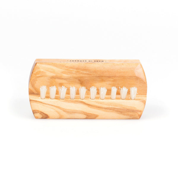 Fendrihan Dual-Sided Olivewood Hand Brush with Pure Natural Bristles, Travel Size - Made in Germany