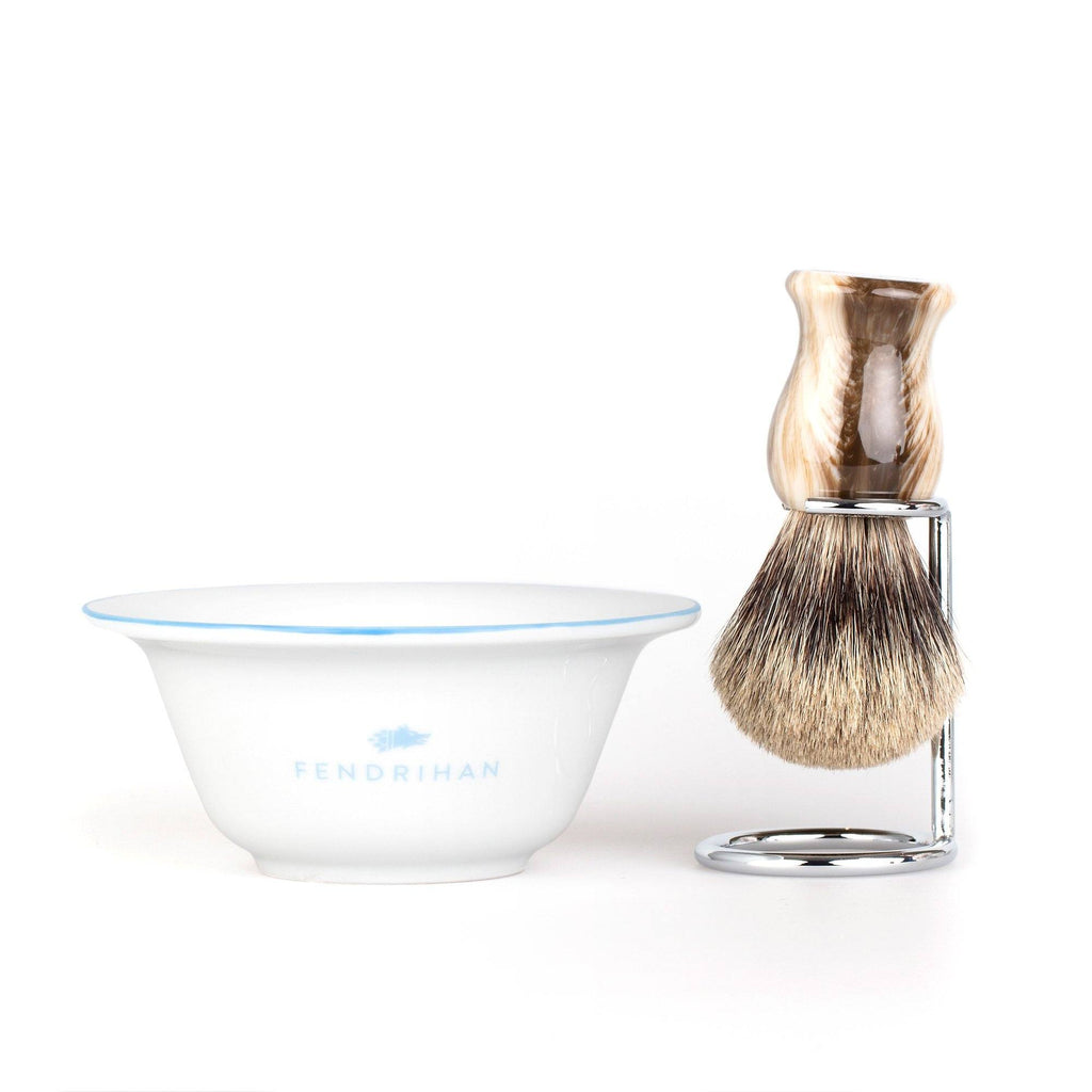 Fendrihan Porcelain Shaving Bowl and Classic Pure Grey Badger Shaving Brush with Metal Stand Set, Save $10 Shaving Set Fendrihan Light Blue Faux Horn
