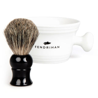 Fendrihan Pure Badger Shaving Brush and Porcelain Shaving Bowl, Save $10 Shaving Kit Fendrihan Black White