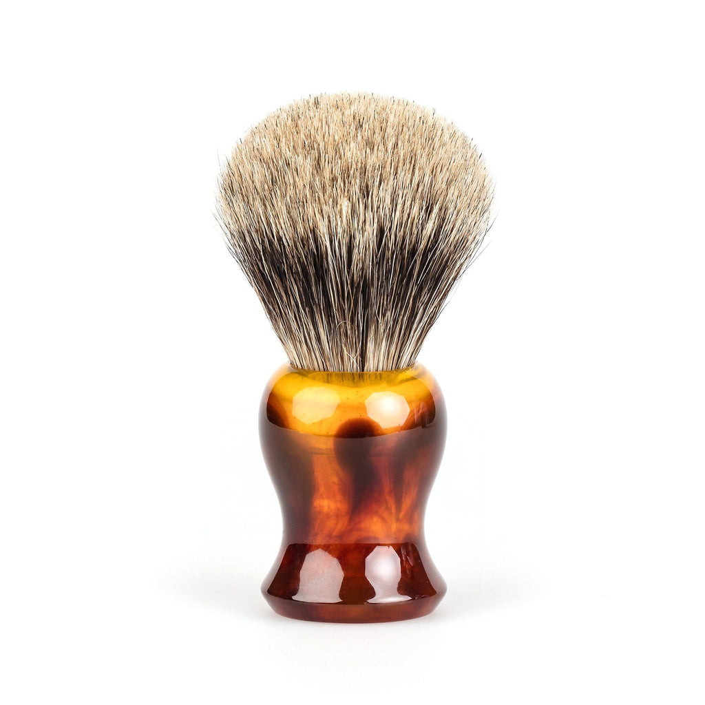 Fendrihan Classic Pure Grey Badger Shaving Brush Badger Bristles Shaving Brush Fendrihan Faux Amber