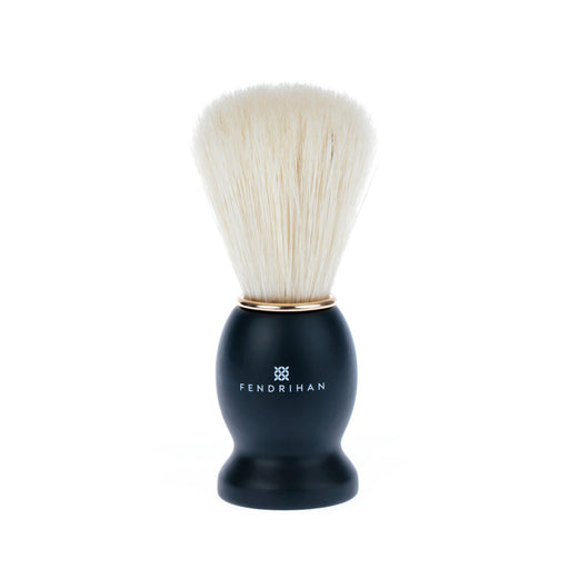 Fendrihan Pure Boar Bristle Shaving Brush, Black Wood Handle with Gold Rim