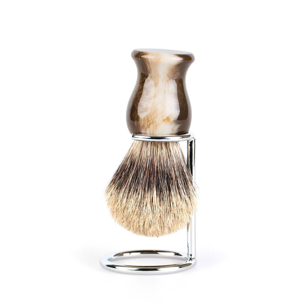 Fendrihan Classic Pure Grey Badger Shaving Brush & Metal Stand Badger Bristles Shaving Brush Fendrihan Faux Horn