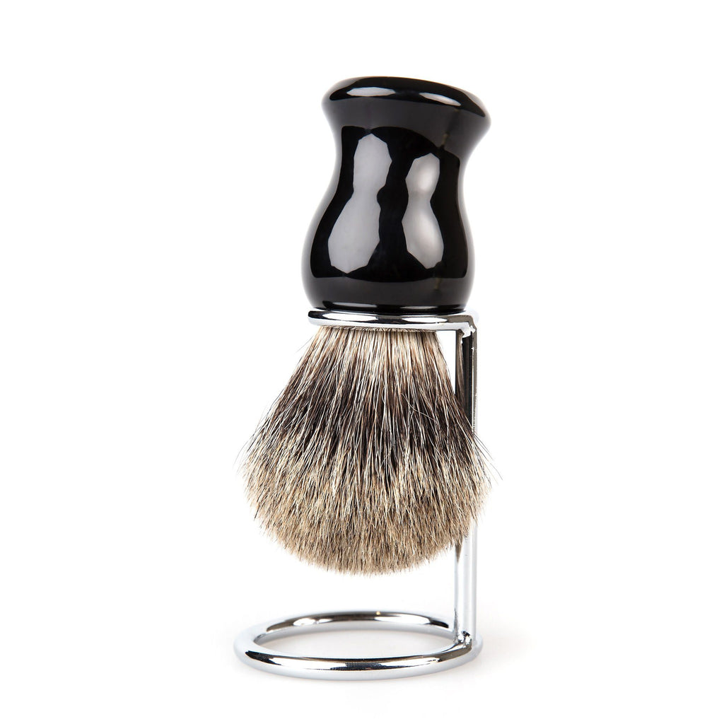 Fendrihan Classic Pure Grey Badger Shaving Brush & Metal Stand Badger Bristles Shaving Brush Fendrihan Black