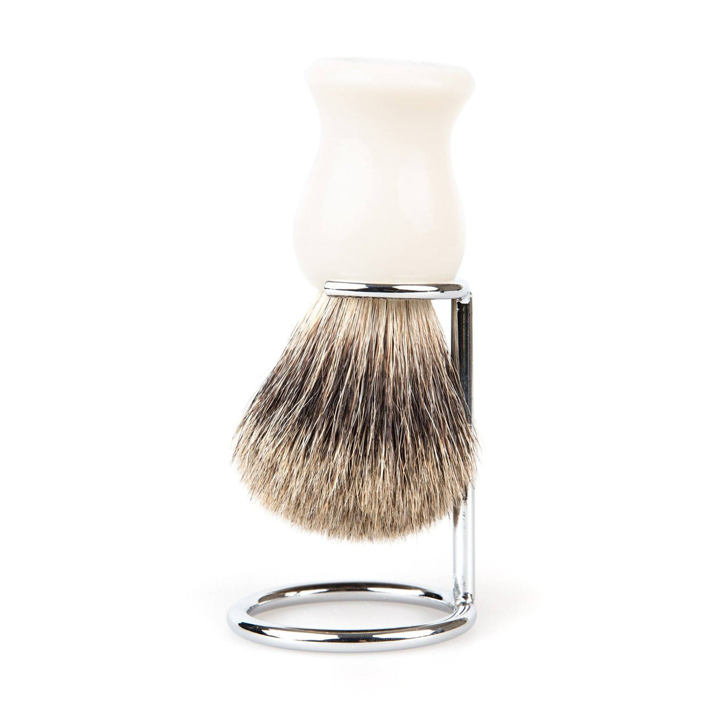 Fendrihan Classic Pure Grey Badger Shaving Brush & Metal Stand Badger Bristles Shaving Brush Fendrihan White