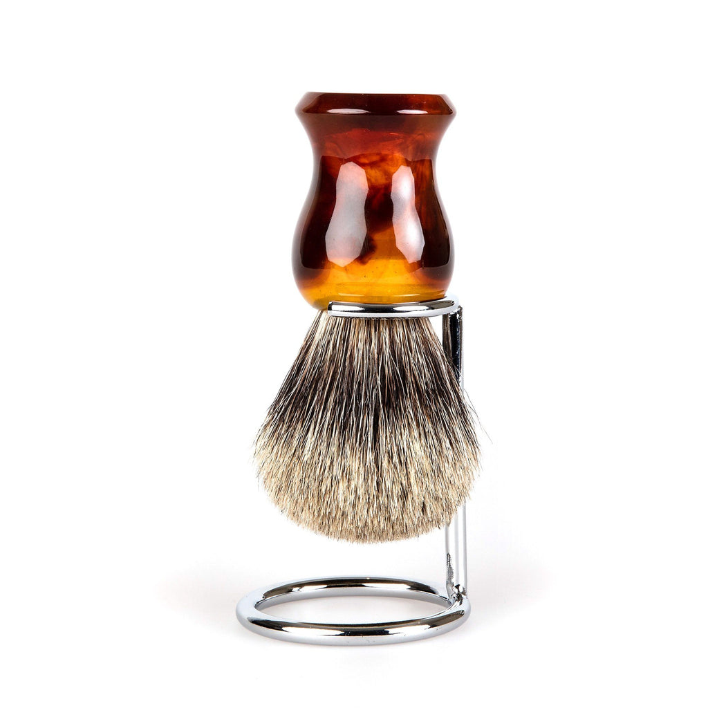 Fendrihan Classic Pure Grey Badger Shaving Brush & Metal Stand Badger Bristles Shaving Brush Fendrihan Faux Amber