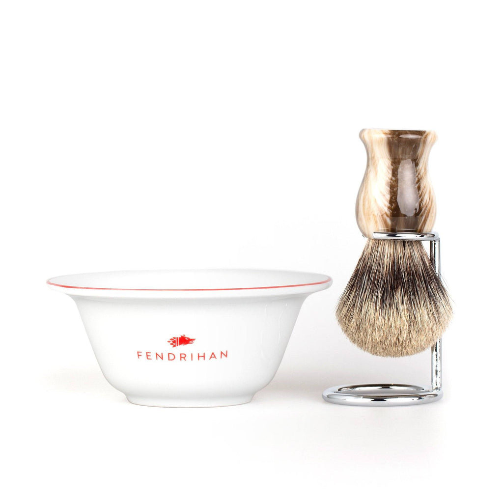 Fendrihan Porcelain Shaving Bowl and Classic Pure Grey Badger Shaving Brush with Metal Stand Set, Save $10 Shaving Set Fendrihan Red Faux Horn