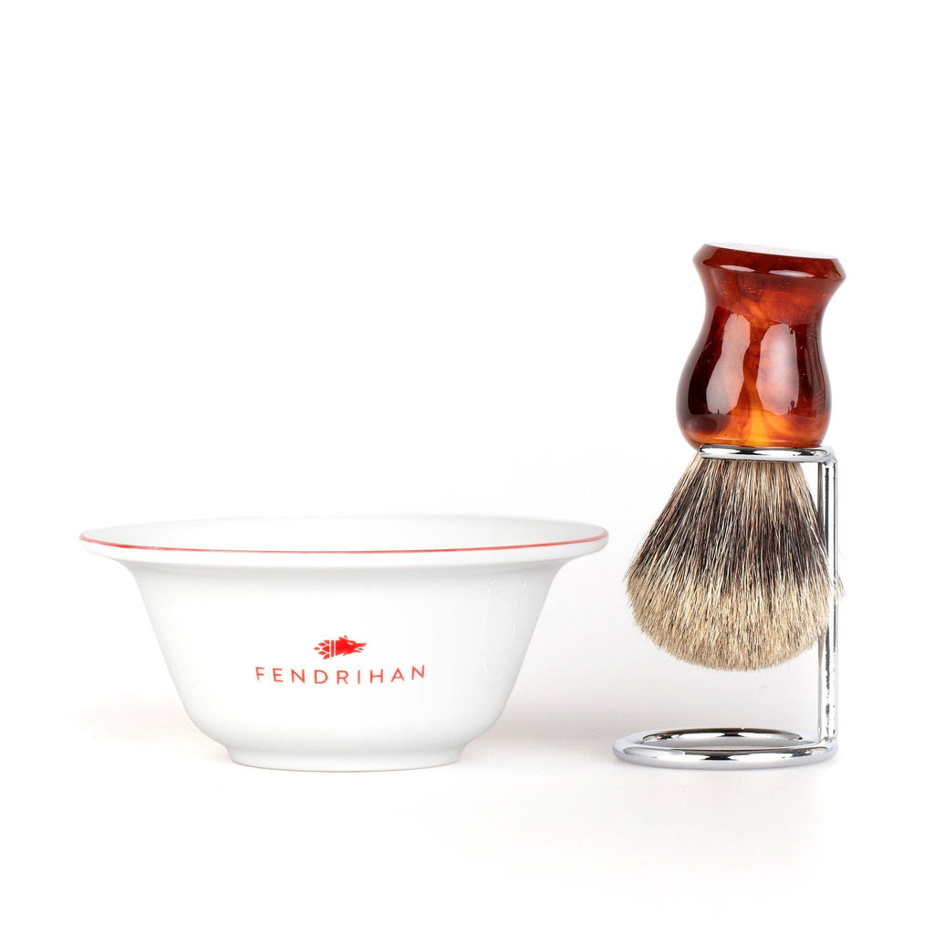 Fendrihan Porcelain Shaving Bowl and Classic Pure Grey Badger Shaving Brush with Metal Stand Set, Save $10 Shaving Set Fendrihan Red Faux Amber