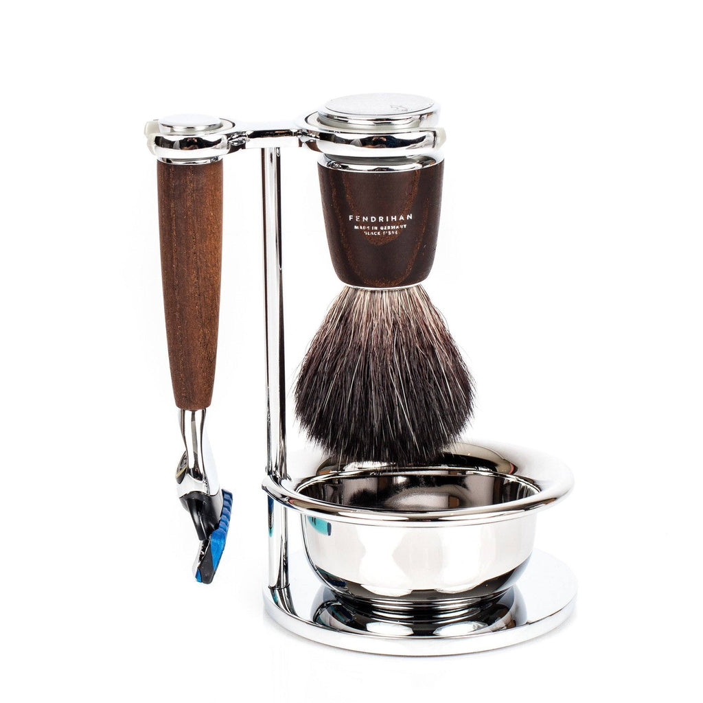 Fendrihan 4-Piece Shaving Set with Gillette Fusion Razor and Black Fibre Brush, Ash Wood