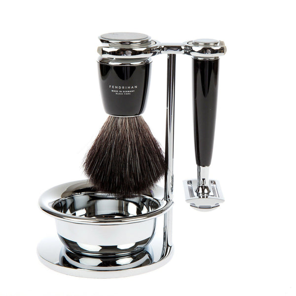 Fendrihan 4-Piece Shaving Set with Safety Razor and Black Fibre Brush
