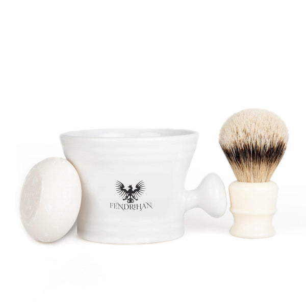 Fendrihan High Mountain White Badger Shaving Brush and Shaving Mug Set, Save $30