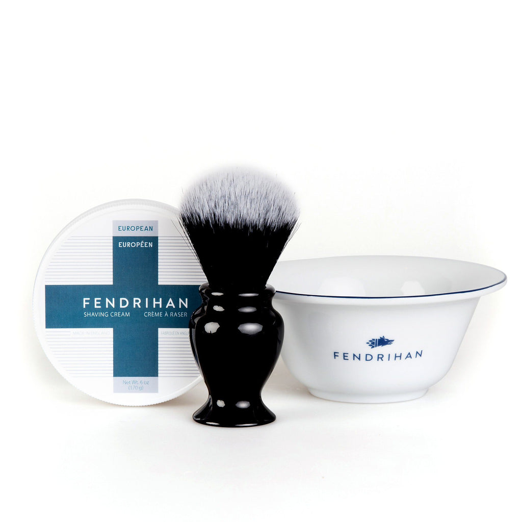Fendrihan Shaving Cream, Porcelain Shaving Bowl and Shaving Brush Set, Save $15 Shaving Set Fendrihan Euro Dark Blue Synthetic Black and White - Black Handle