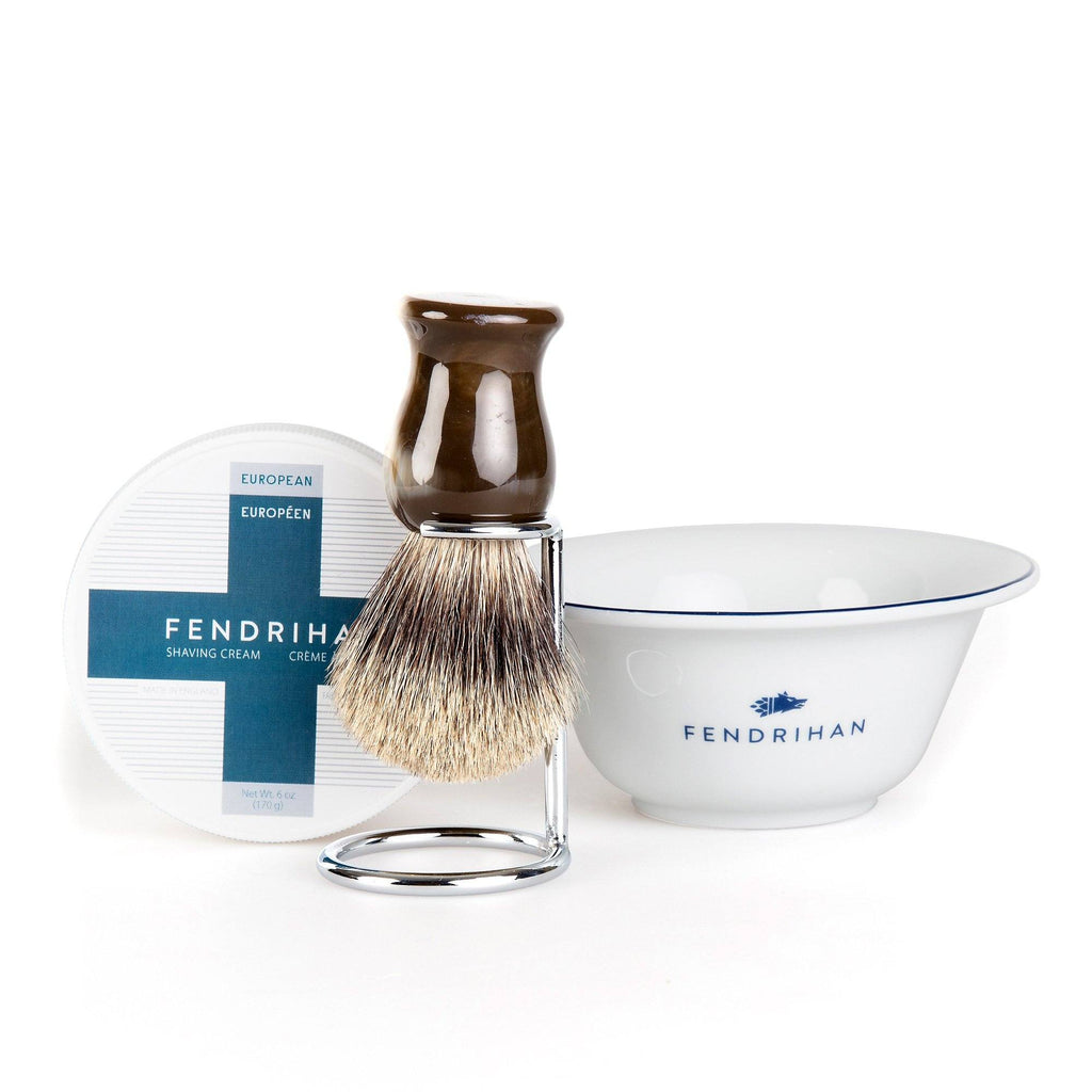 Fendrihan Shaving Cream, Porcelain Shaving Bowl and Shaving Brush Set, Save $15 Shaving Set Fendrihan Euro Dark Blue Pure Grey Badger - Faux Horn Handle