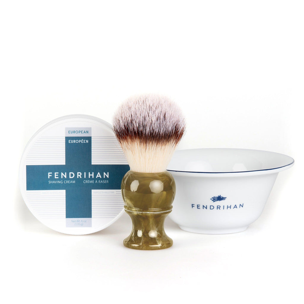 Fendrihan Shaving Cream, Porcelain Shaving Bowl and Shaving Brush Set, Save $15 Shaving Set Fendrihan Euro Dark Blue Synthetic Silvertip - Faux Horn Resin Handle
