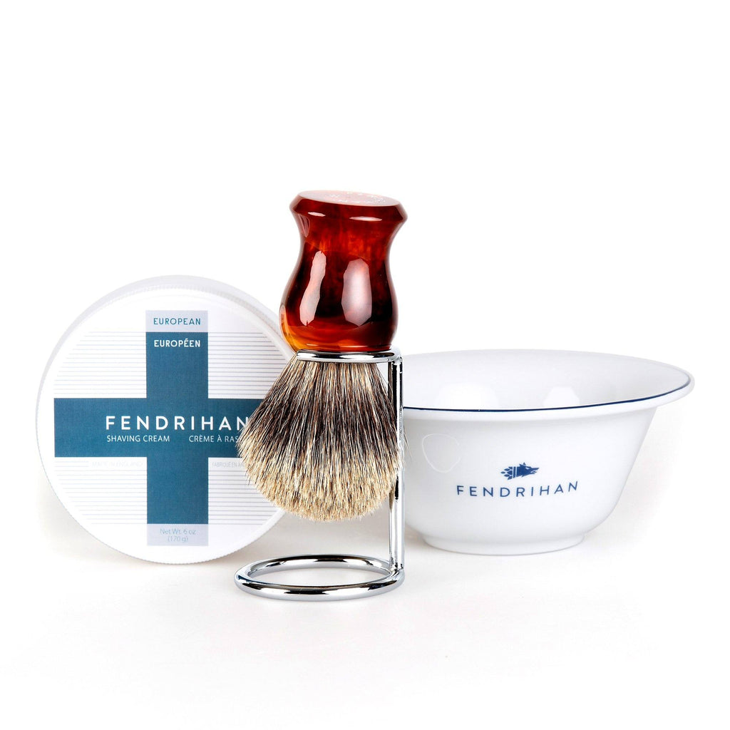 Fendrihan Shaving Cream, Porcelain Shaving Bowl and Shaving Brush Set, Save $15 Shaving Set Fendrihan Euro Dark Blue Pure Grey Badger - Faux Amber Handle