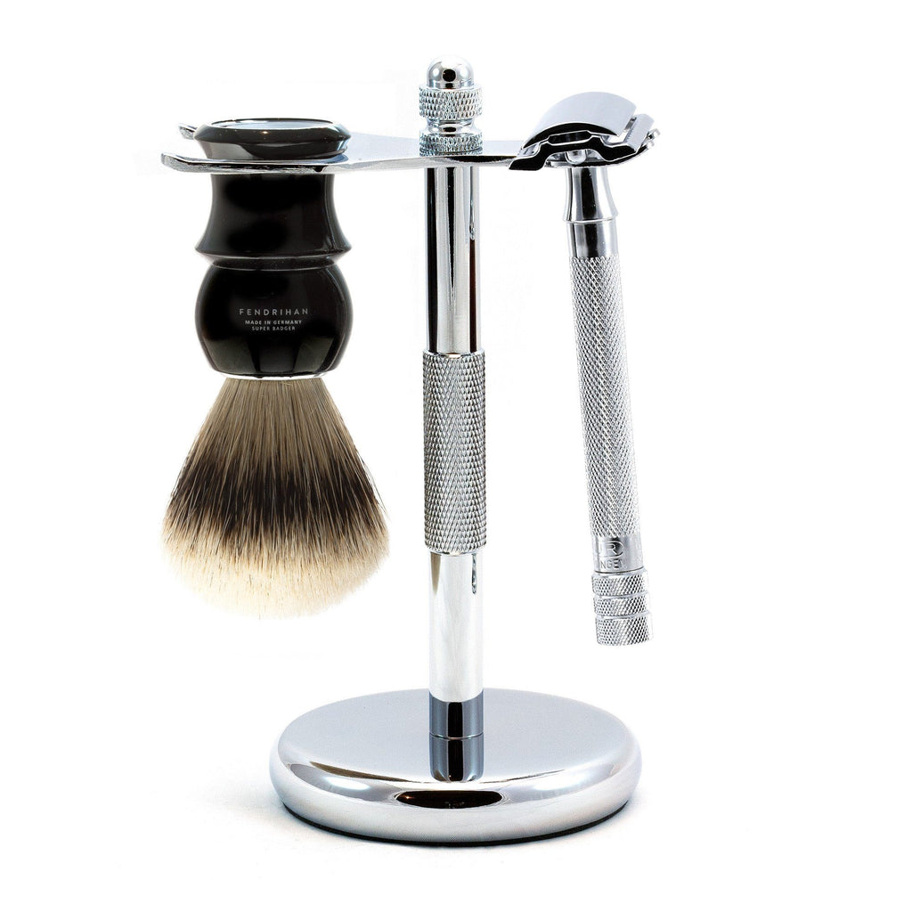Merkur 23C Long-Handle 3-Piece Classic Wet-Shaving Kit, Save $25 Shaving Kit Fendrihan Black
