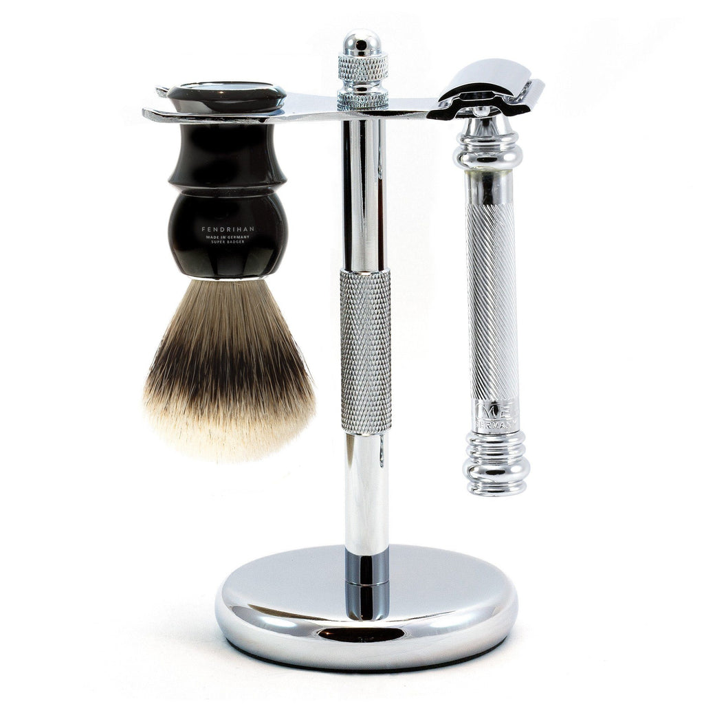 Merkur 38C Barber-Pole 3-Piece Classic Wet-Shaving Kit, Save $15 Shaving Kit Fendrihan Black