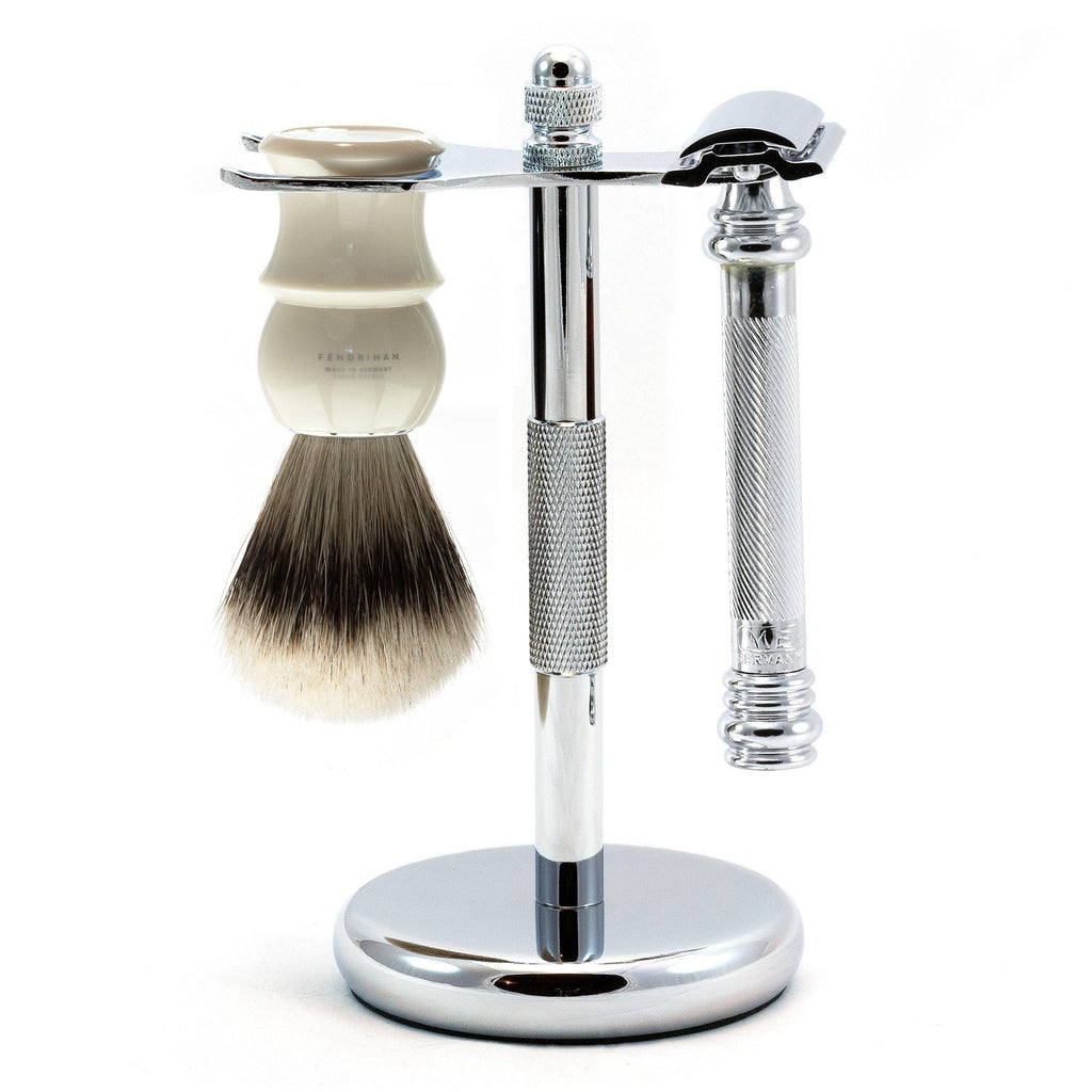 Merkur 38C Barber-Pole 3-Piece Classic Wet-Shaving Kit, Save $15 Shaving Kit Fendrihan Ivory